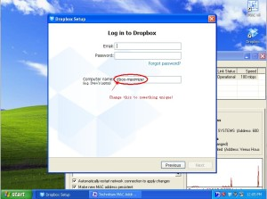 Dropbox in Virtual Machine - Login