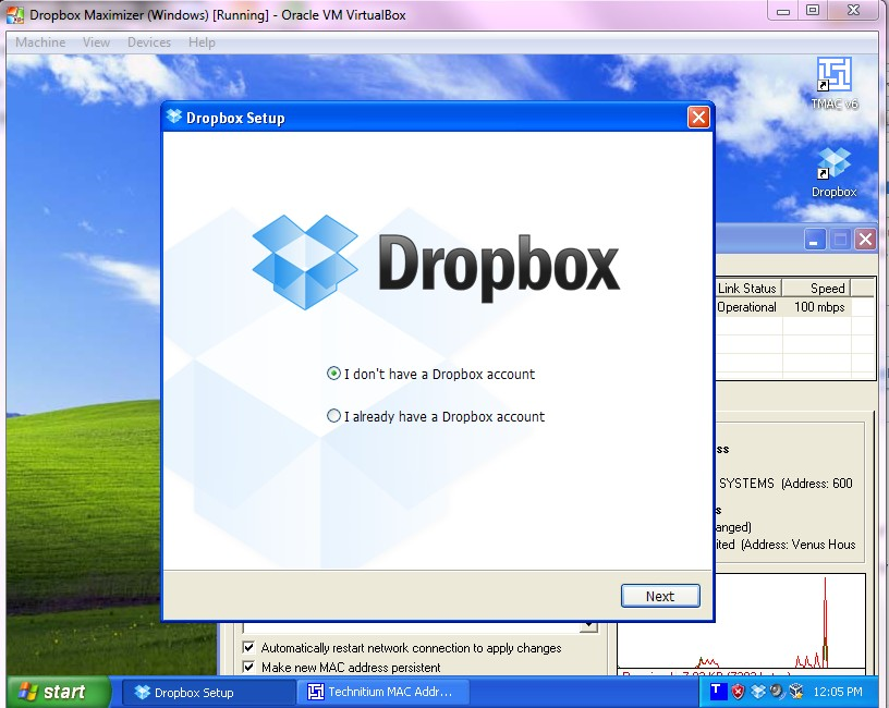 How To Create a (Small) Dropbox Windows VirtualBox Image